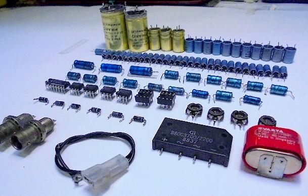 STUDER A730(スチューダー業務用) これまでの劣化交換部品 約90個。業務用CDプレーヤ―の修理・整備