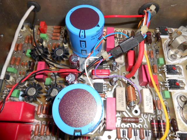 cello ENCORE power 整備後の電源部ブロックコンデンサー(左右4個交換)