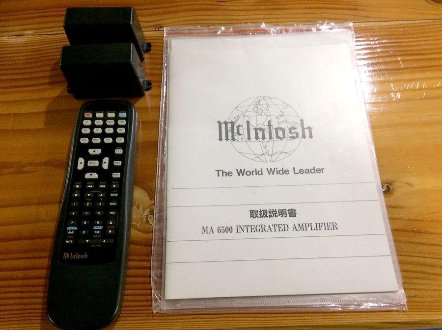 McIntosh MA6500(マッキントッシュ・プリメインアンプ)付属品、リモコン