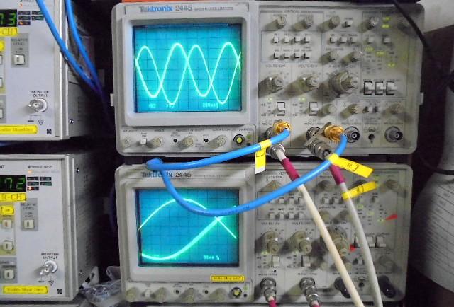 USA MARANTZ #8の正弦波。きれいに観測、位相転換のズレなし