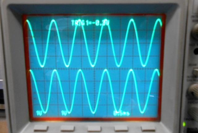 オシロスコープ:左右チャンネルの波形