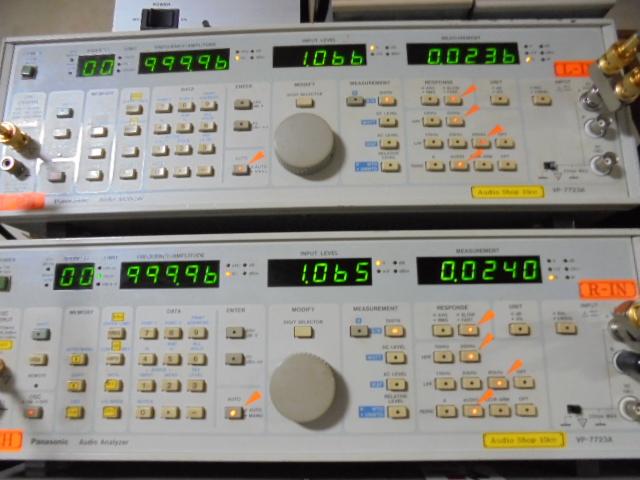 STUDER A727 CD Player オーバーホール整備完了後の1KHz基準信号再生時の歪率0.02%程度でOKです。